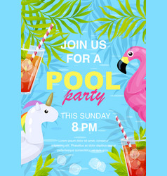 Pool party invitation design vector