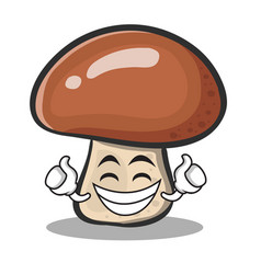 proud face mushroom character cartoon vector image