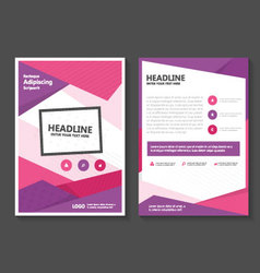 Purple pink annual report Leaflet Brochure set vector