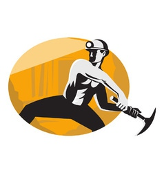Retro Coal Miner Icon vector image