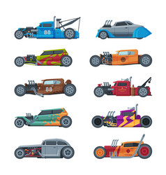 retro style hot rod race cars old sports vector image
