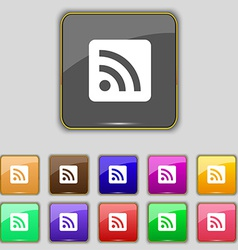 RSS feed icon sign Set with eleven colored buttons vector