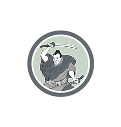 Samurai Warrior Wielding Katana Sword Circle vector