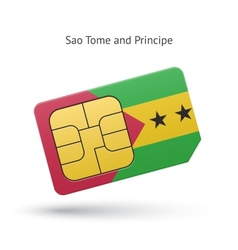 Sao Tome and Principe phone sim card with flag vector image