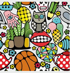 seamless pattern with body parts nirds and toys vector image