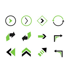 set colored arrows elements vector image