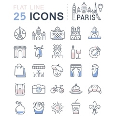 Set Flat Line Icons Paris vector image