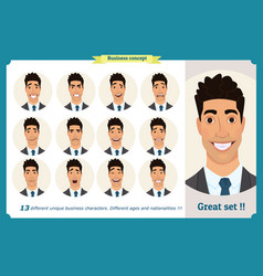 set male facial emotionsface expressions vector image