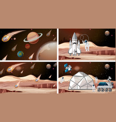 Set mars spcae scenes vector