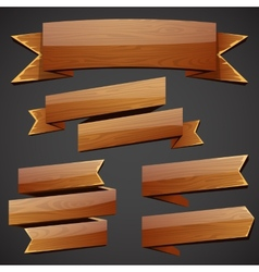 Set of wood banners vector image