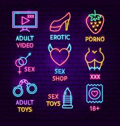 Sex shop neon label set vector