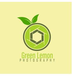 shutter lemon photography logo design template vector image
