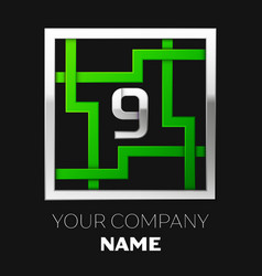 Silver number nine logo symbol in the square maze vector
