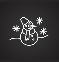 snowman thin line on black background vector image