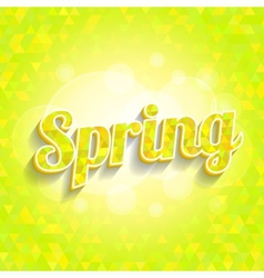 Spring triangles pattern with word and bokeh vector
