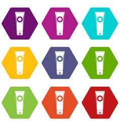 Sunscreen icon set color hexahedron vector