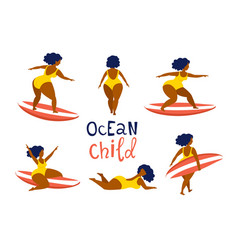 surfing girls on surfboards catching waves in vector image