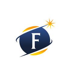Swoosh logo letter f vector