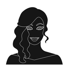 the face of a woman with a hairdo face and vector image