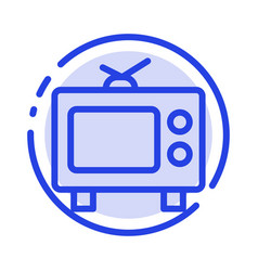 tv television media blue dotted line line icon vector image
