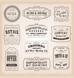 Vintage and old-fashioned labels and signs vector