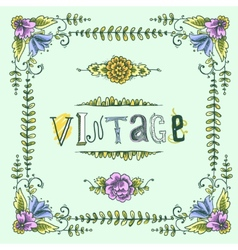 Vintage colored frame vector