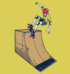 Vintage man playing skateboard on ramp vector