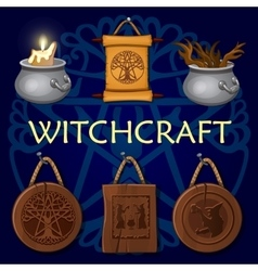 Witchcraft old mystic symbols vector