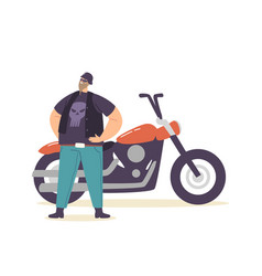 young brutal biker character in leather clothes vector image