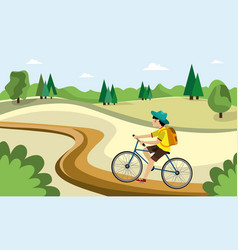 young man is riding on bicycles on natural vector image