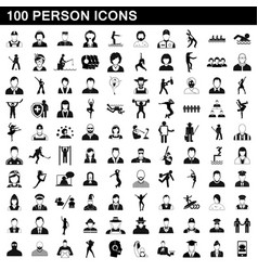 100 person icons set simple style vector image vector image