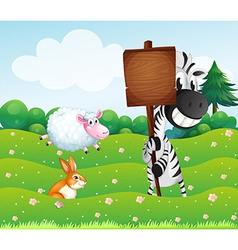 A zebra holding an empty wooden signboard at the vector image vector image