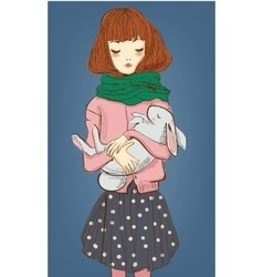 cute girl with white hare on her hands vector image vector image