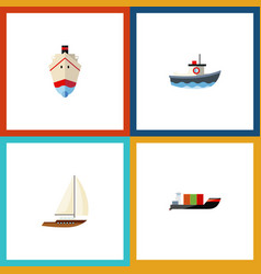 flat icon vessel set of yacht transport tanker vector image vector image