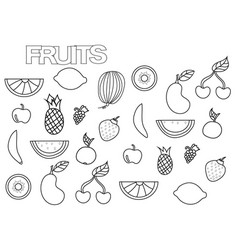 hand drawn fruits set coloring book page vector image
