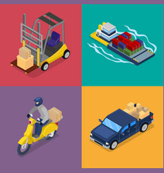 isometric delivery concept freight transportation vector image vector image