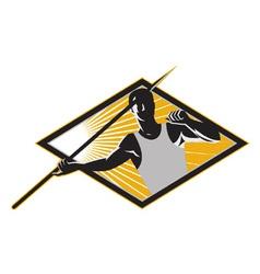 Retro Javelin Athlete Icon vector image