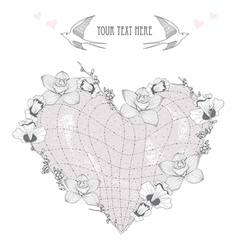 valentines day card heart made from flowers postca vector image vector image