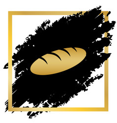 bread sign golden icon at black spot vector image vector image