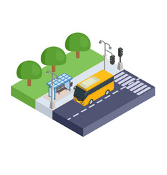 station and yellow bus for carrying passengers vector image