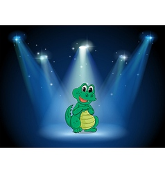 A young crocodile at the stage with spotlights vector image vector image
