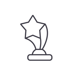 award cup with star line icon sign vector image