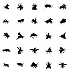 Bee silhouettes set vector image