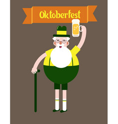 grandfather with a glass of beer folk costumes vector image vector image