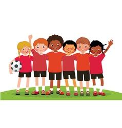 International group kids soccer team vector image vector image