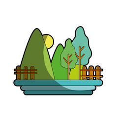 Mountains with trees and grid wood with sun vector