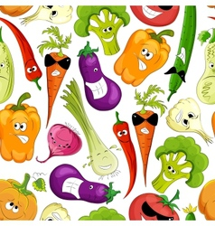 seamless pattern funny vegetable vector image vector image