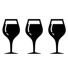set isolated wine glasses vector image