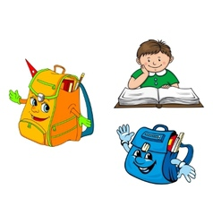 Set of colorful school education icons vector image vector image