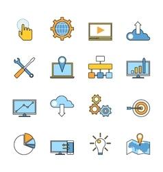Set of responsive web development line icons Flat vector image